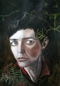 """Self Portrait with bracken and Hawthorn Watercolour and Mixed Media on paper approx 12 x 16 """""""