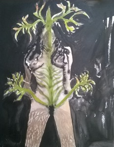 Nature Girl Watercolours and ink on paper 2' x 1' approx