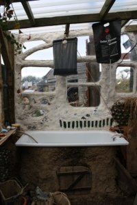 Bath, oven, porch wall Made of local clay and straw and lime