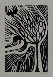 The Dying of it All Lino Print Approx 6 x 4 ""