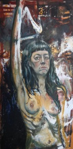 Self Portrait with Fist in the Air Oil and Tempera on Plywood 4 x 2'