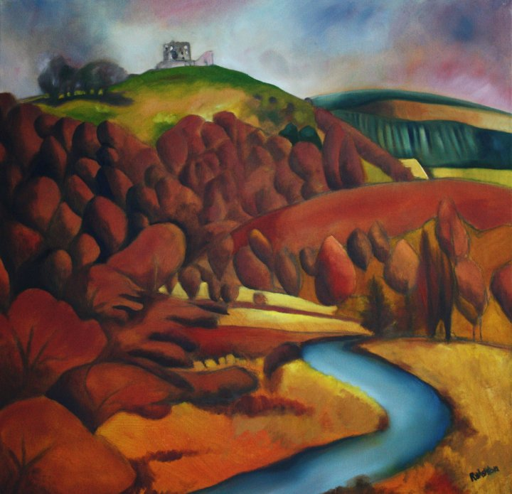 Auchindoun Castle and the Fiddich Oil on Canvas Approx 25 x 25