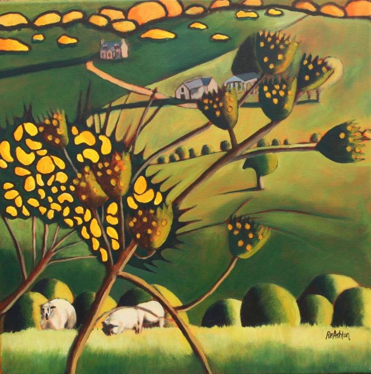 Sheep and Gorse Acrylic on Canvas Approx 18 x 18